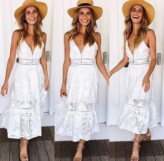 a7364f324aba B0748 White Mid Length Dress - Dashing Fashion
