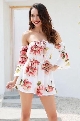 27fa046b7d Red-Long-Sleeve-Strapless-Floral-Rompers