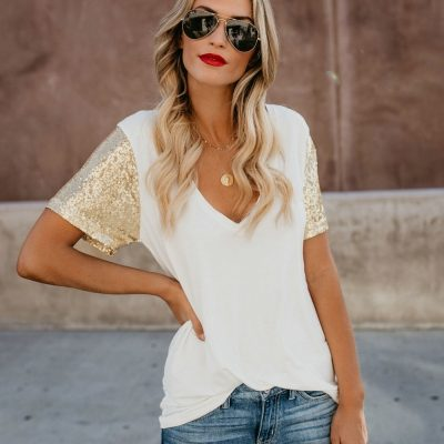 2d741c78872 White-V-Neck-Casual-Shirt-with-Sequins-Short-Sleeves