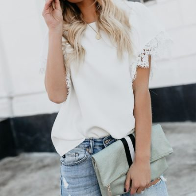 b829ab34372 White-O-Neck-Sheer-Blouse-with-Lace-Cuff
