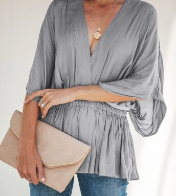 533252684ca Grey-V-Neck-Plain-Shirt-with-Wide-Sleeves